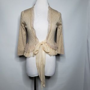 Juicy Couture Pale Peach Cashmere CroppedTie Cardi